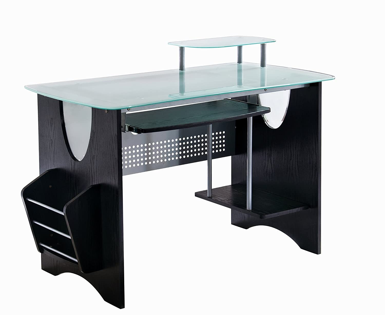 Amazon.com: Stylish Frosted Glass Top Computer Desk With Storage. Color:  Expresso: Kitchen U0026 Dining