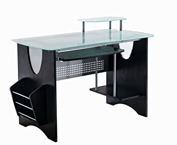 Awesome Stylish Frosted Glass Top Computer Desk With Storage. Color: Expresso