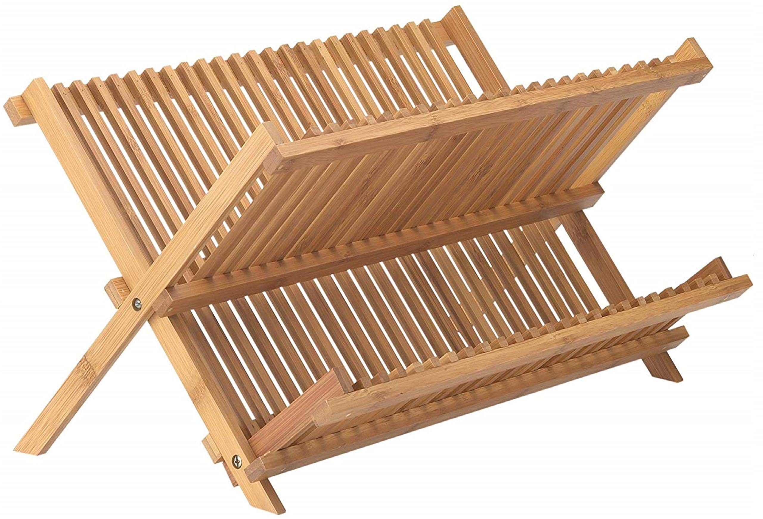 Neet Bamboo Dish Drying Rack   2 Tier Folding Collapsible   18.5'' X 13'' Inches   Organic Wooden Dish Drainer Wood Kitchen Utensil & Plate Dryer