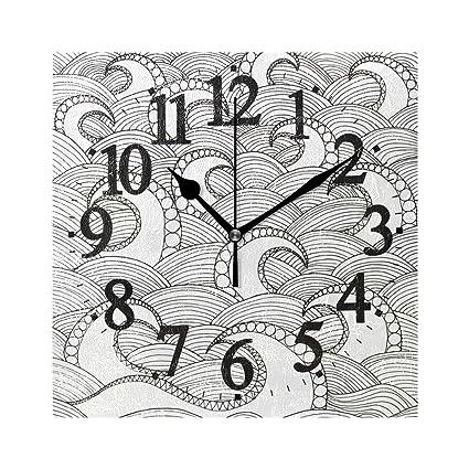 Amazon com: AHOMY Decorative Wall Clock Black and White Ocean Wave