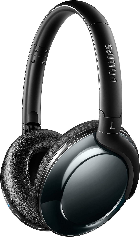 Philips Audio SHB4805DC Flite Everlite - Auriculares OverEar Bluetooth Inalámbricos (Elegante y Plegables, 12 Horas de Reproducción) Negro y Gris