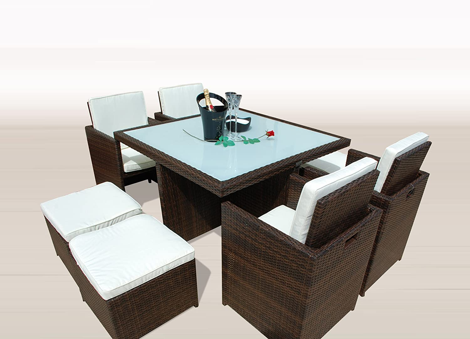 gartenm bel polyrattan essgruppe tisch mit 4 x stuhl 4. Black Bedroom Furniture Sets. Home Design Ideas
