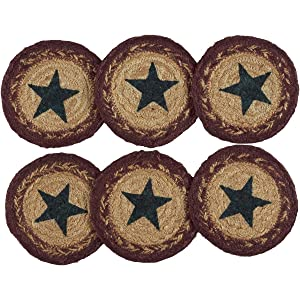 VHC Brands Americana Primitive Tabletop & Kitchen - Potomac Tan Stencil Star Jute Coaster Set of 6