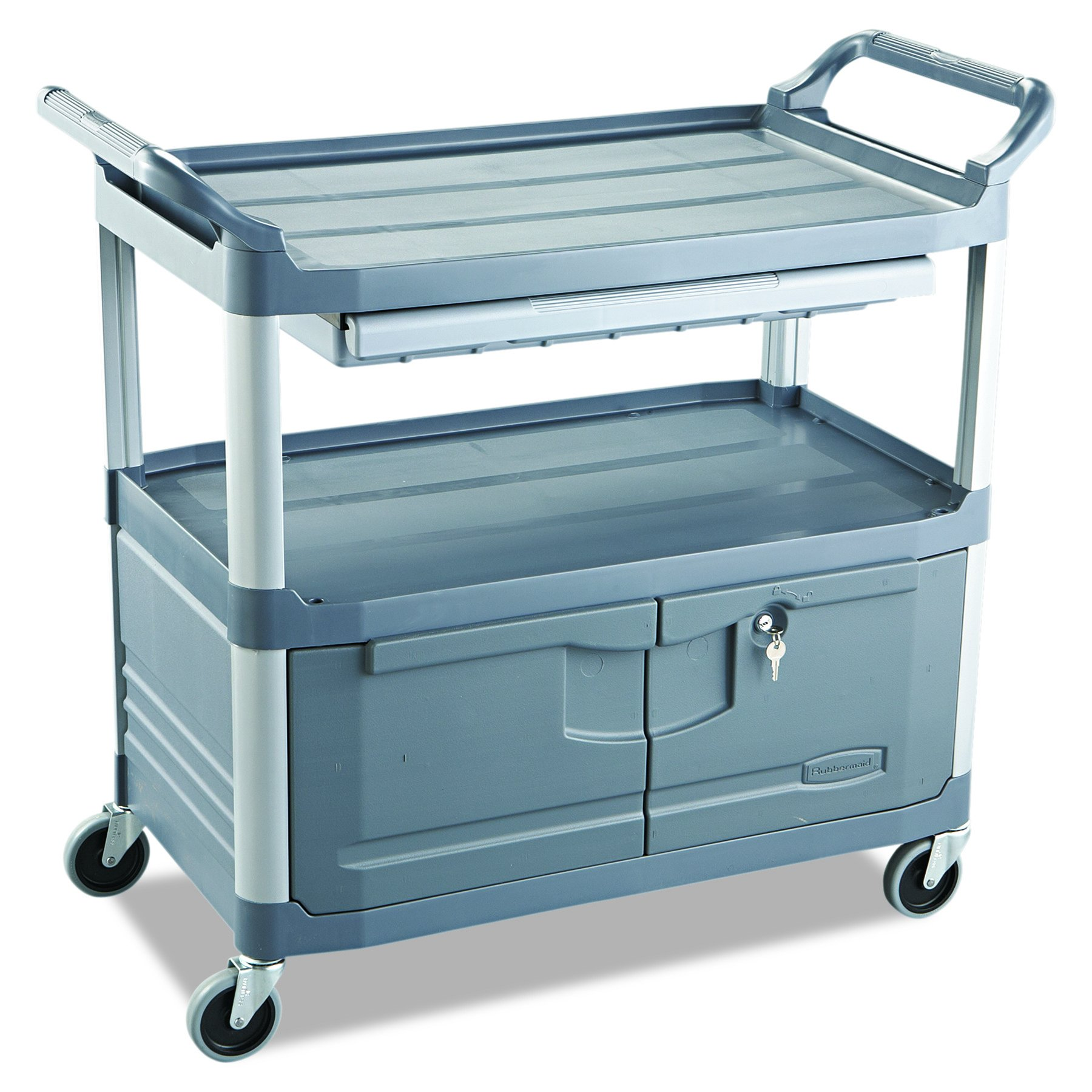 Rubbermaid Commercial Xtra Instrument and Utility Cart, Gray, FG409400GRAY