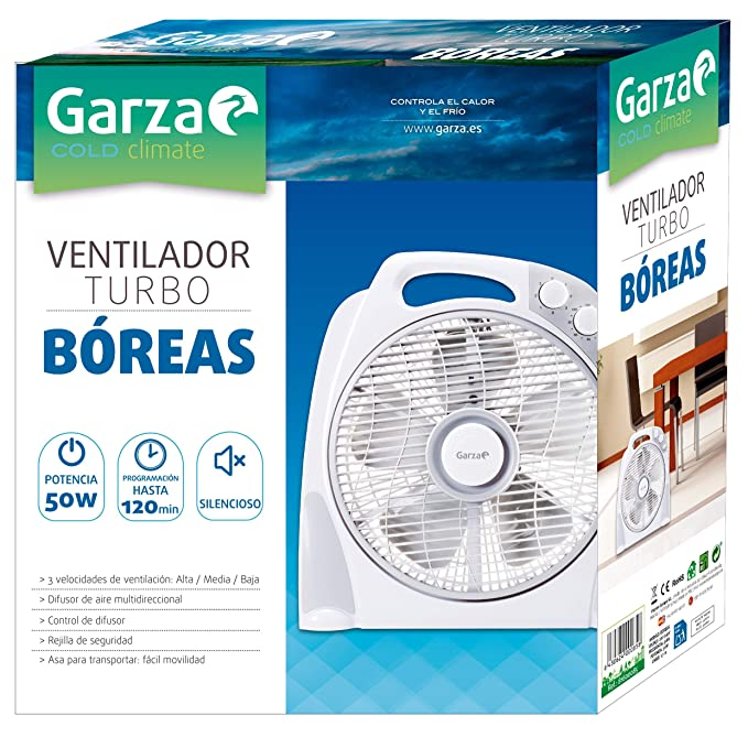 Garza BÓREAS - Turbo Ventilador Portátil de Sobremesa de 3 Velocidades, Potencia 50W, Temporizador Programable hasta 120 minutos, Control de Difusor ...