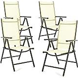 SONLEX 4er Set Klappstuhl Klappsessel Gartenstuhl Campingstuhl Liegestuhl – Sitzmöbel – klappbarer Stuhl aus Aluminium & Kunststoff - Creme (Textilene)/Anthrazit (Rahmen)