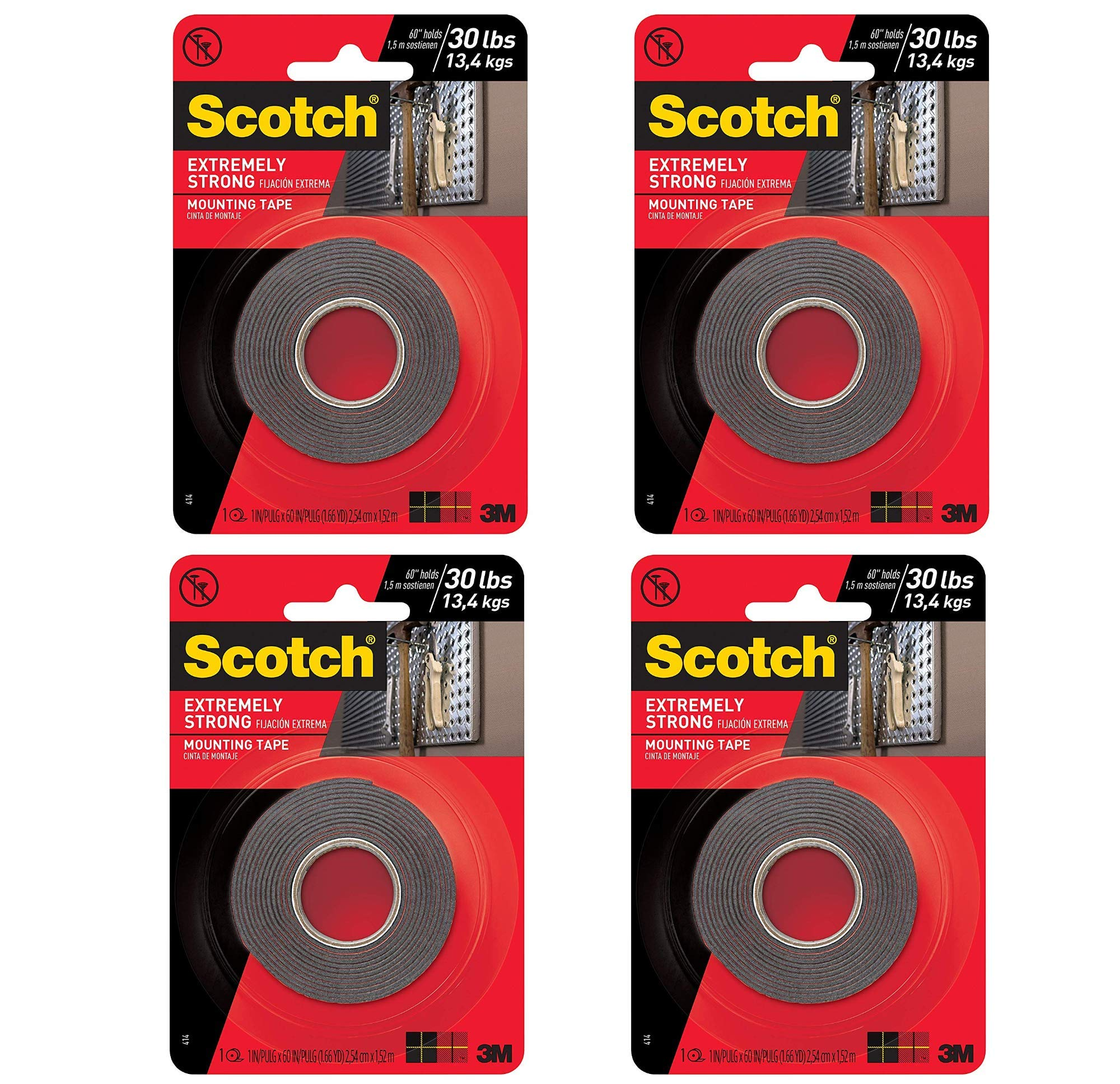 Scotch Extremely Strong Mounting Tape, 1-inch X 60-inches, Black, Holds up to 30 pounds, 1-Roll (414P) (4) by Scotch Brand