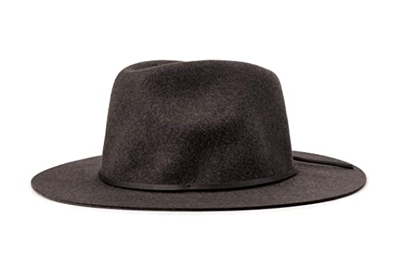 82452331 Brixton Men's Wesley Medium Brim Felt Fedora Hat, black, X-Small