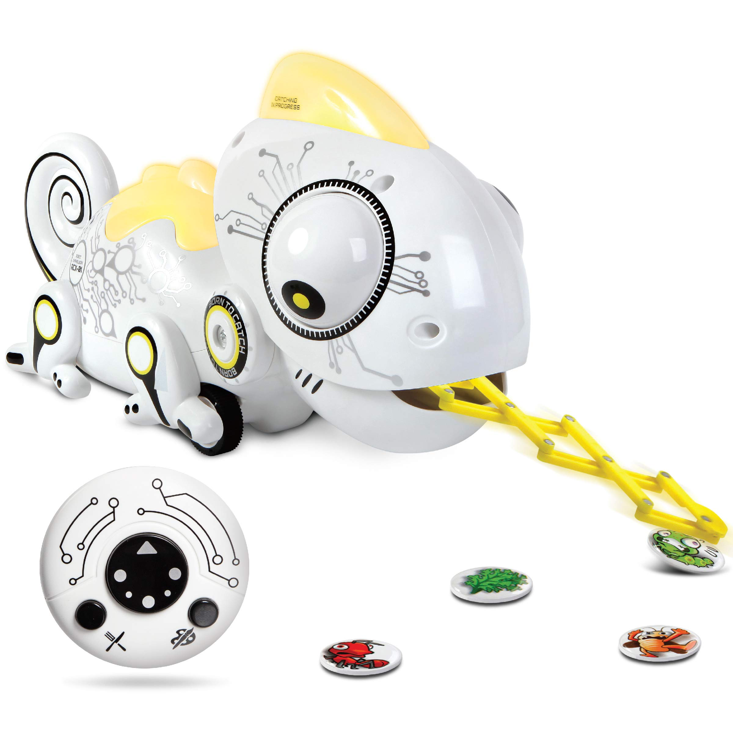 Sharper Image Color Changing RC Robotic Chameleon Toy with Multi Colored LED Lights and Bug Catching Action; Multi-Directional Remote Control & Extendable Tongue with Animated Eyes and Tail by Sharper Image (Image #1)