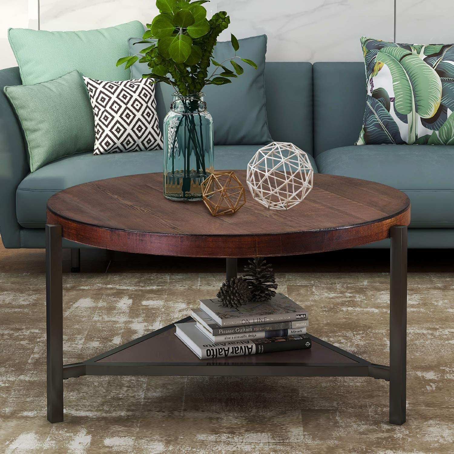 - Amazon.com: Round Coffee Table 35.4 Inch Industrial Coffee Table