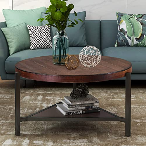 Round Coffee Table 35.4 Inch Industrial Coffee Table Wood and Metal Legs with Storage Open Shelf 2 Tier Coffee Table for Living Room