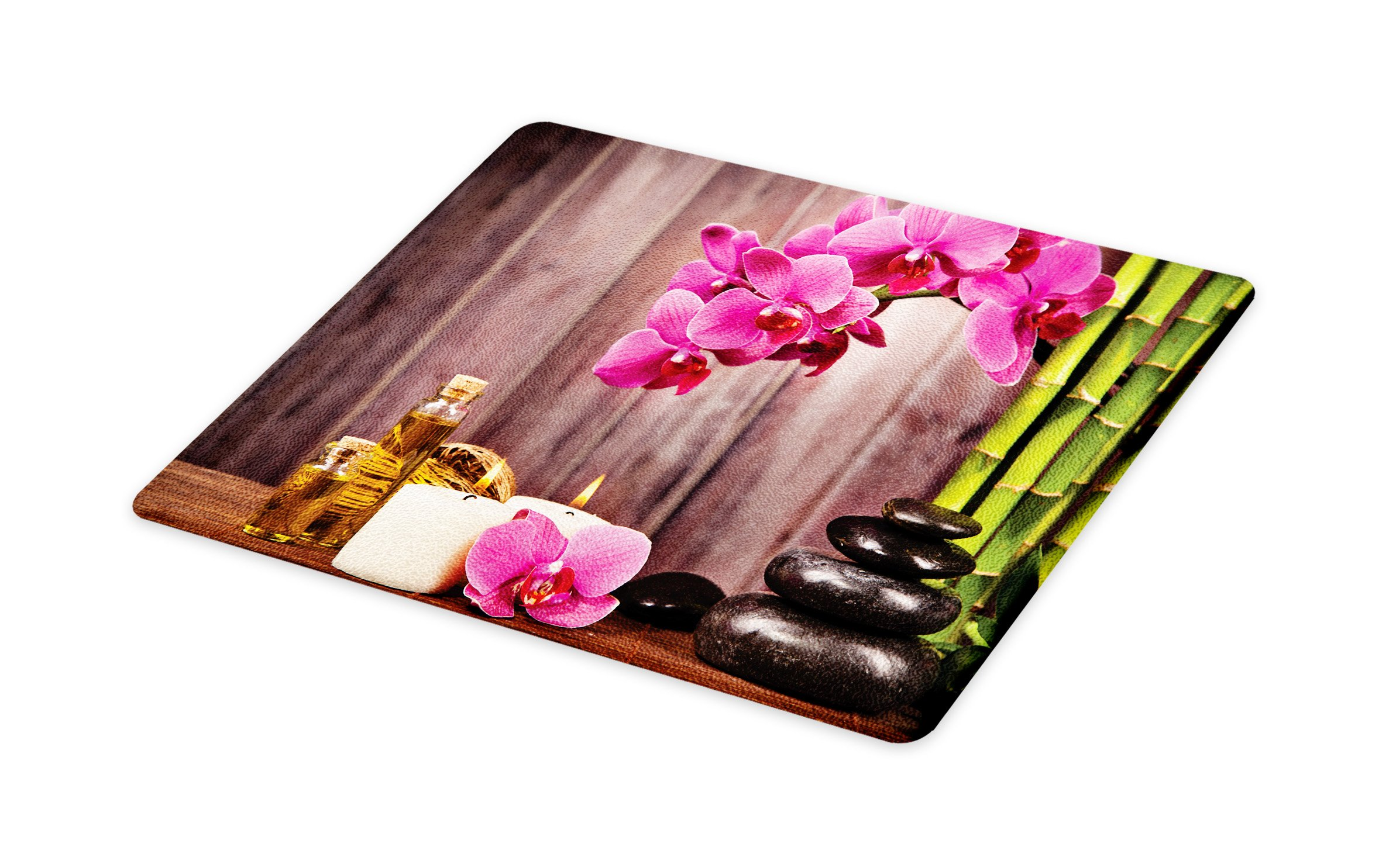 Lunarable Spa Cutting Board, Spa Orchid Flowers Rocks Bamboo Asian Style Aromatherapy Massage Therapy Print, Decorative Tempered Glass Cutting and Serving Board, Small Size, Pink Green Umber