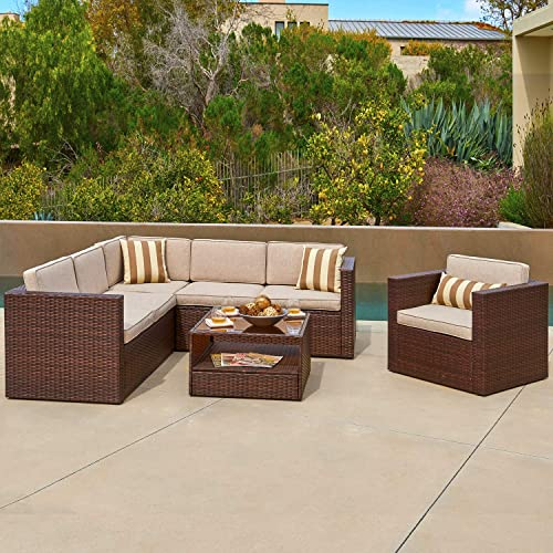 SOLAURA Outdoor Furniture Set 5-Piece 6 Seats Wicker Furniture Modular Sectional Sofa Set Brown Wicker with Beige Cushions Sophisticated Glass Coffee Table