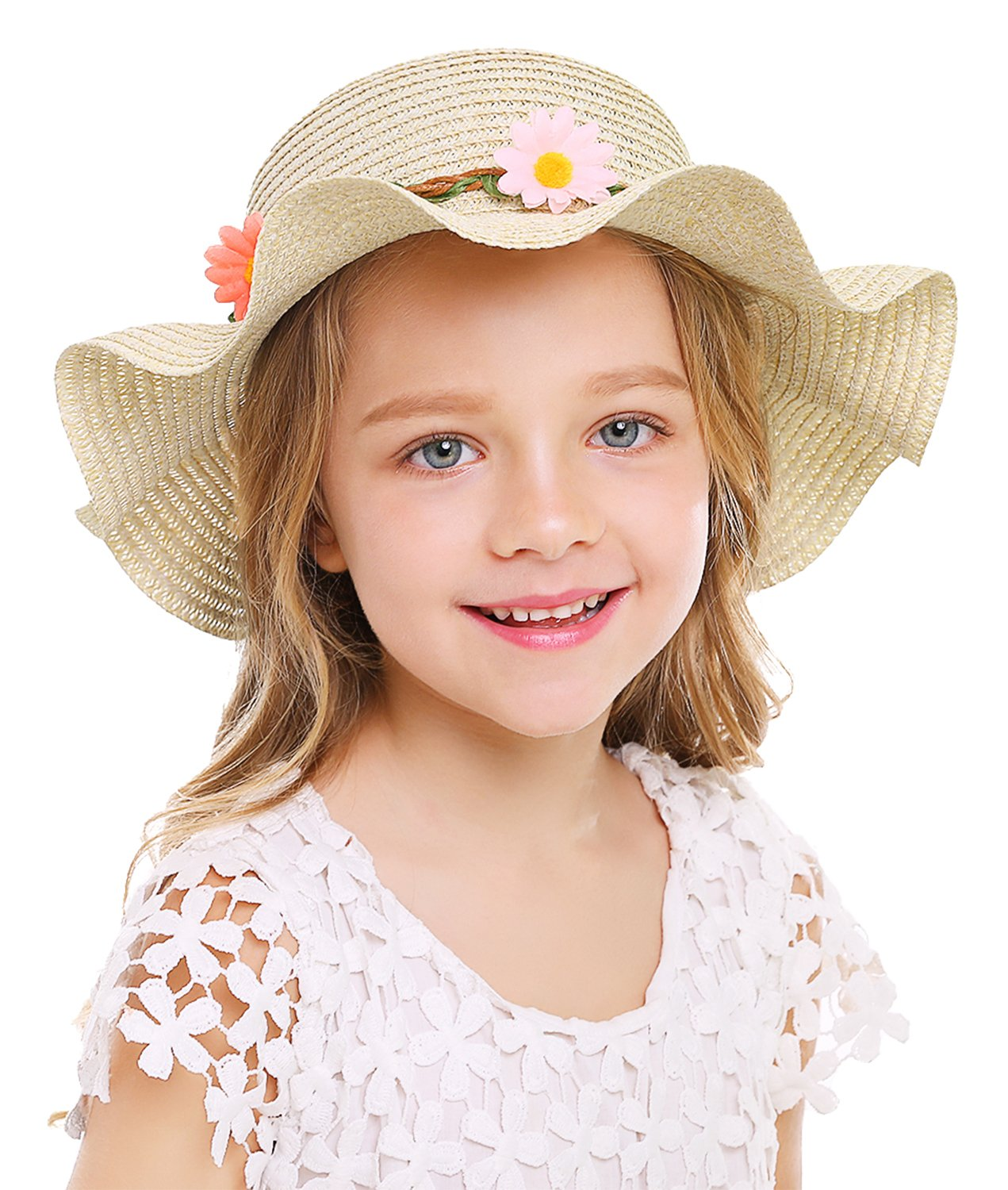 Bienvenu Sun Straw Hat Kids Girls Large Wide Brim Travel Beach Beanie Cap,Beige by Bienvenu (Image #5)