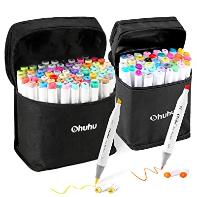 Ohuhu Alcohol Marker Set: 40+1 Colors Marker Set of Oahu Series (Fine & Chisel Tip) and 72+1 Colors Marker Set of Honolulu Series (Brush & Chisel Tip) : Office Products