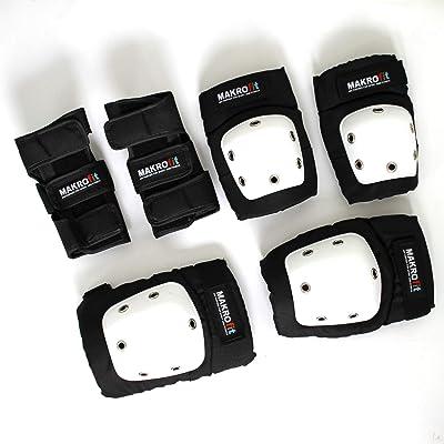 6 Kit de protections MAXOfit avec coque pour les mains, les bras et les genoux, blanc