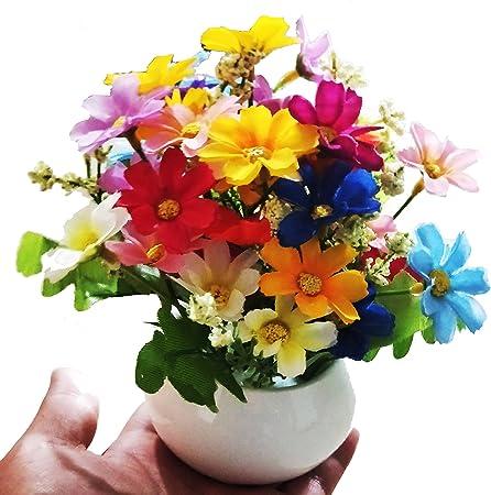 Nuevo Artificial Plantas de jardín macetas bonsai decoración del hogar seda en maceta flores oficina planta? Muy mucho color? En un moderno, G: Amazon.es: Hogar