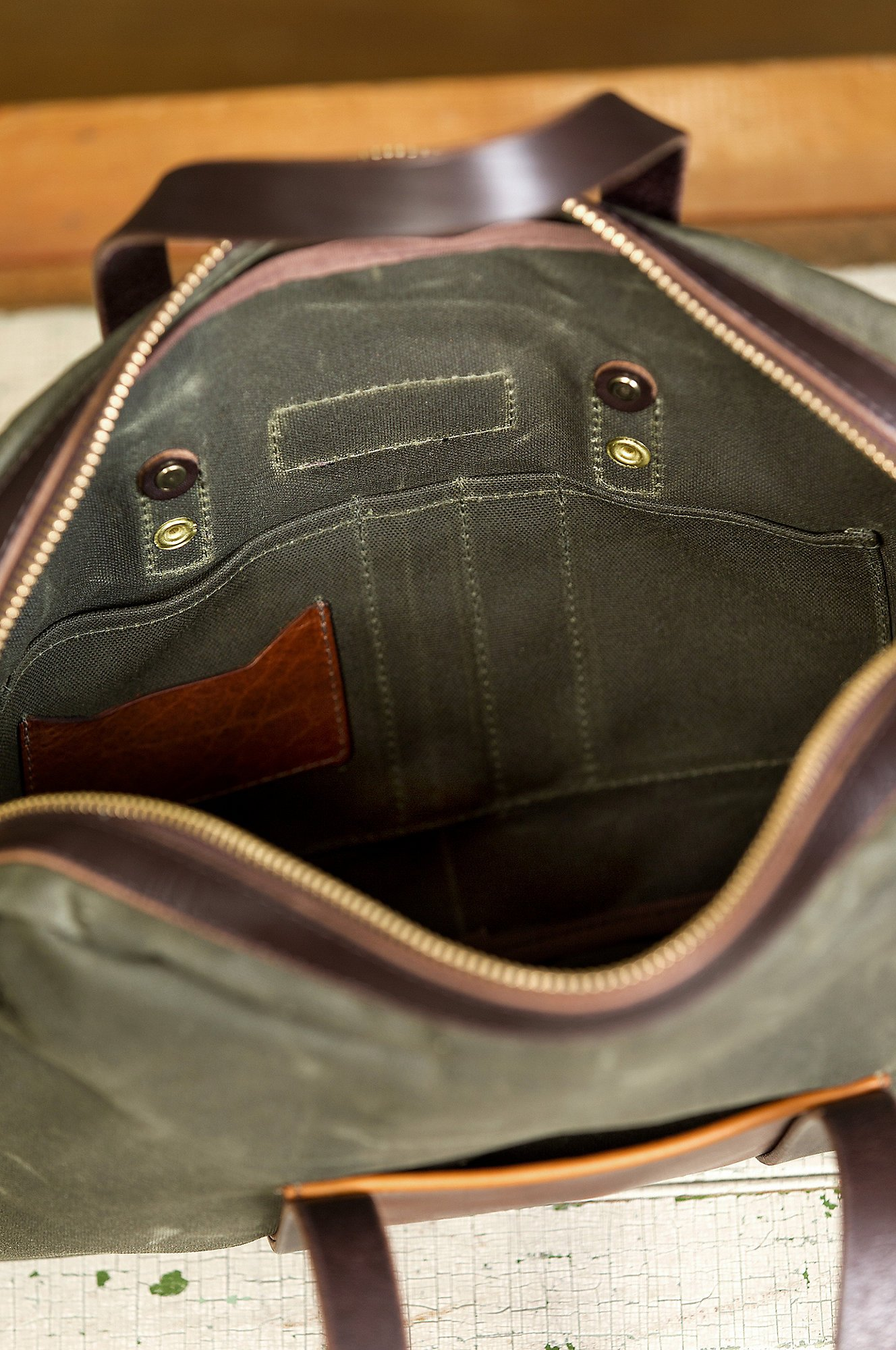 Heritage Canvas and American Bison Leather Briefcase by Overland Sheepskin Co (Image #7)