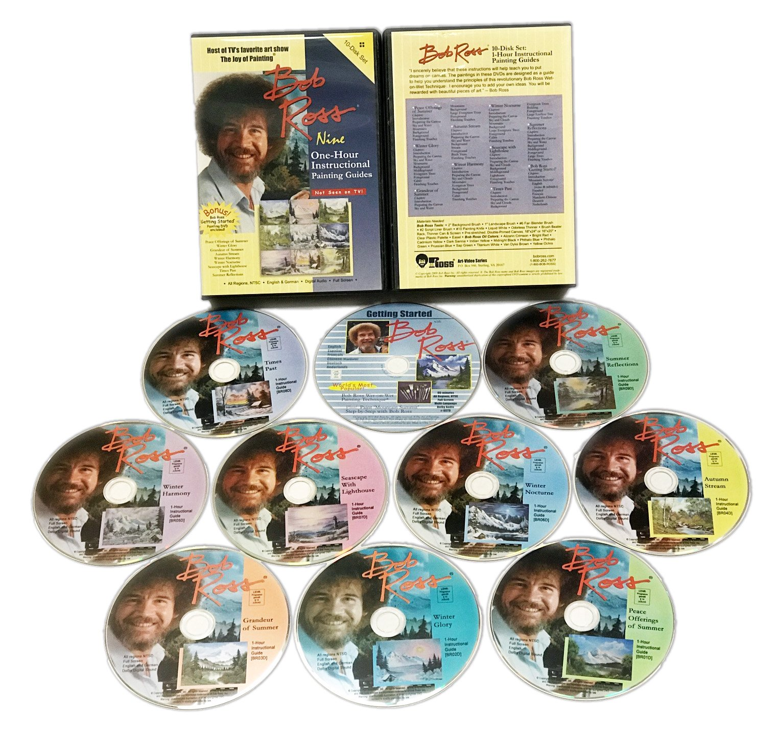 Bob Ross: The Joy of Painting - Nine 1-Hour Instructional Guides 10 DVD Gift Set by Weber Art