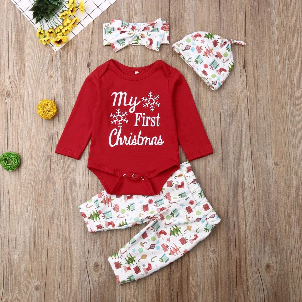 Pants Set with Hat MILWAY Infant Baby Deer Outfits Long Sleeve Deer Romper