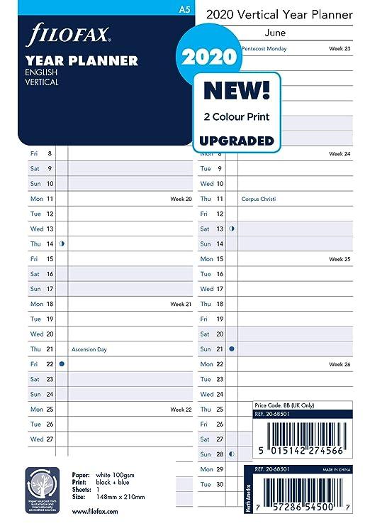 Amazon.com: Filofax Recambio, A5, planificador vertical de ...