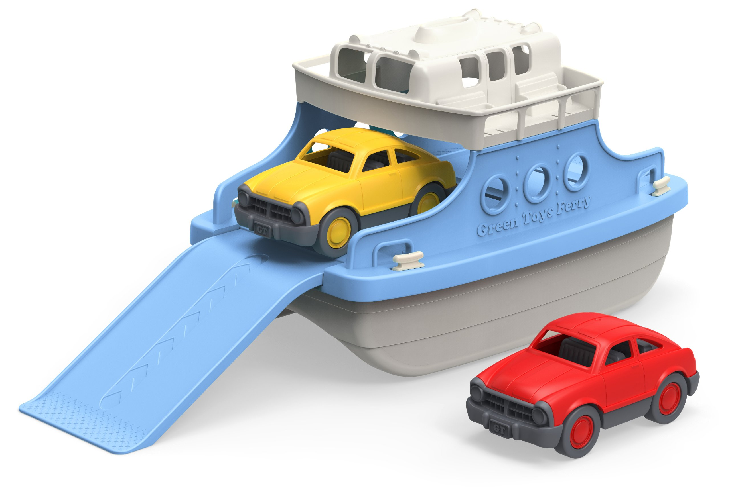 Green Toys Ferry Boat with Mini Cars Bathtub Toy, Blue/White By Green Toys