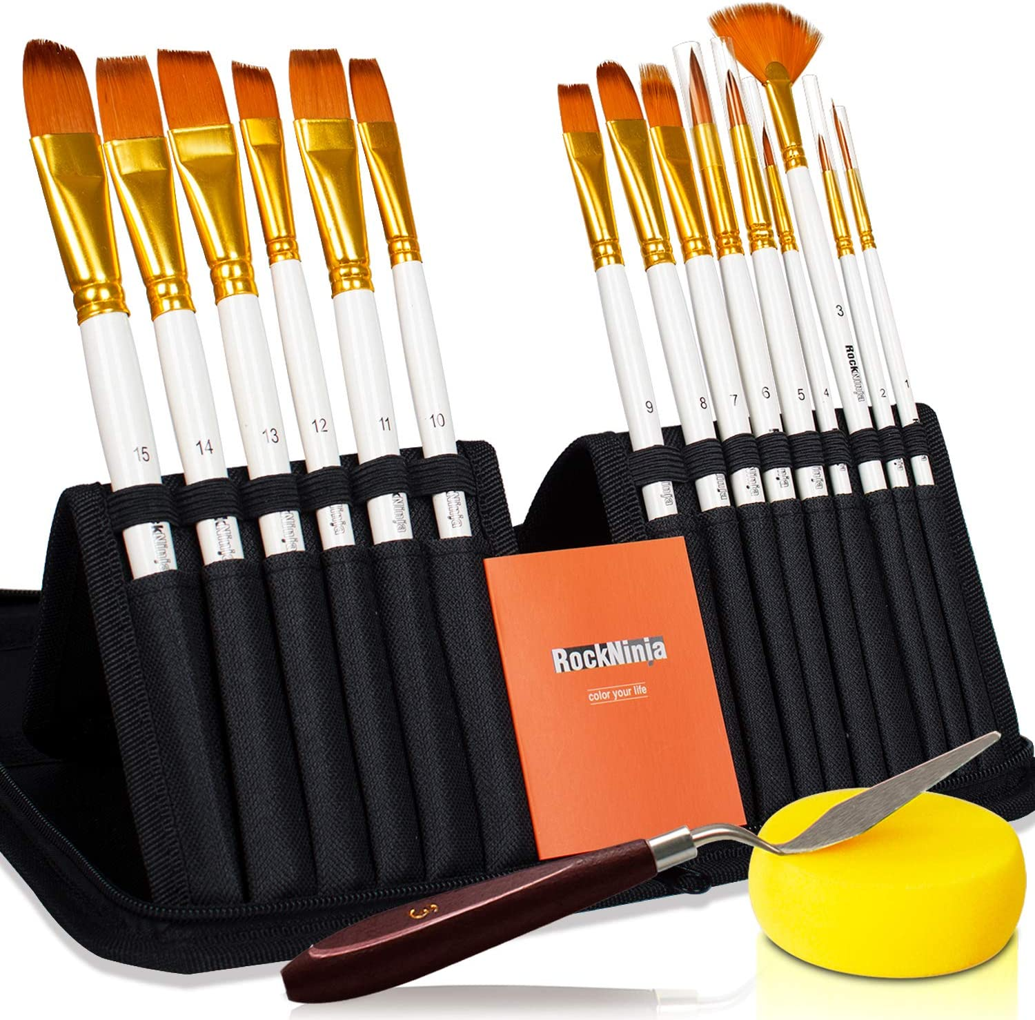 Rock Ninja New 15Pcs Artist Paint Brushes Set Includes Pop-up Carrying Case,for Acrylic, Oil, Watercolor, Creative Body Paint and Gouache Painting