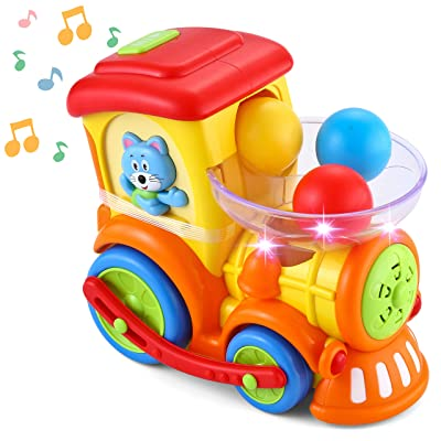 JOYIN Ball Popper Toy For Toddlers Pitch & Go Ball Rolling train toys Infant Toy Car with Light Talk Music for 1 2 3 4 Years Baby Activity Early Educational: Toys & Games