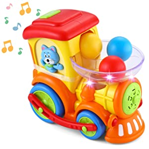 JOYIN Baby Activity Center Baby Pitch & Go Ball Rolling Train Toys Infant Toy Car with Light Talking Music Toy & Color Sorting Balls Early Educational Toys Train for Toddlers