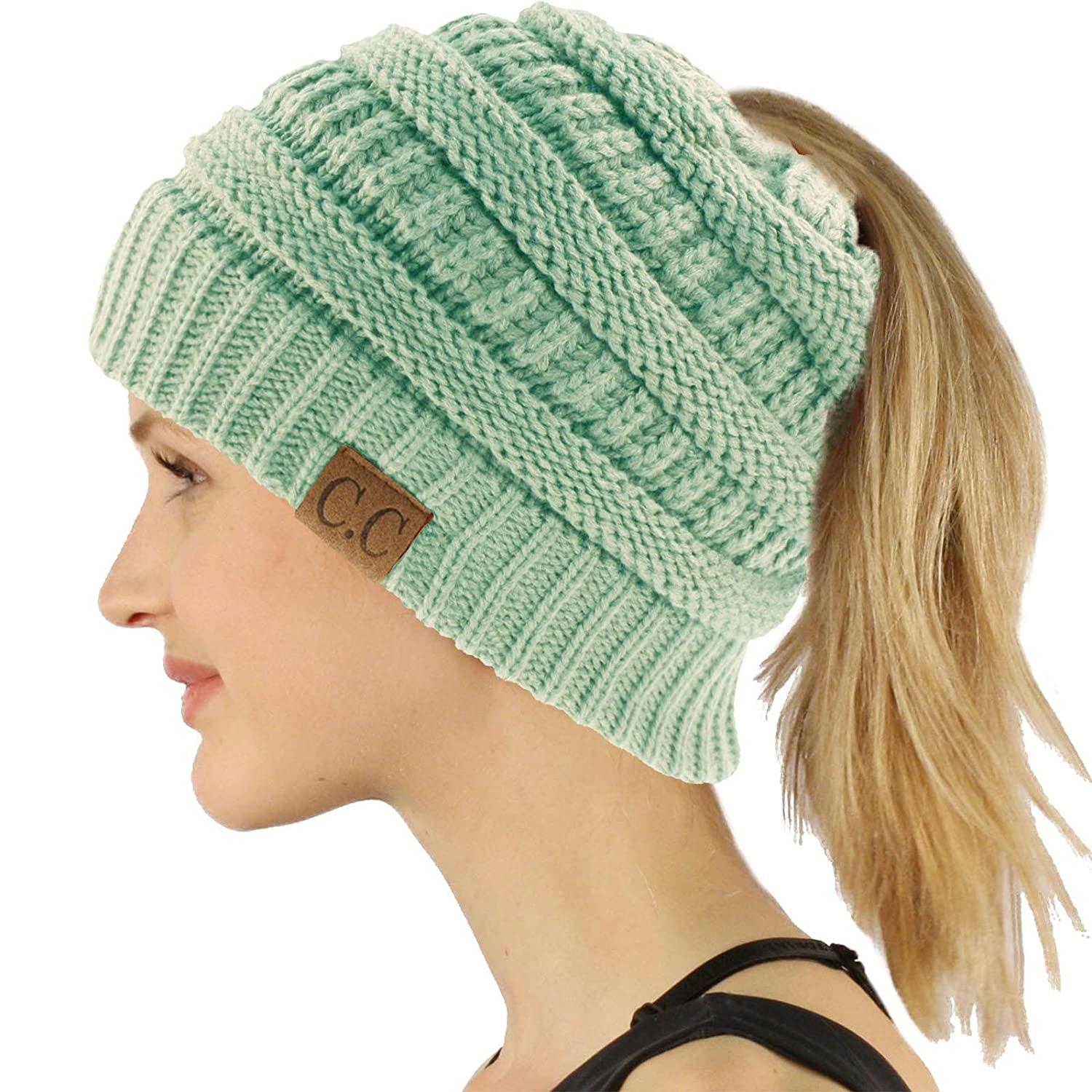 2c27aeaed4297 Ponytail Messy Bun BeanieTail Soft Winter Knit Stretchy Beanie Hat Cap  Black Gray Mix at Amazon Women s Clothing store