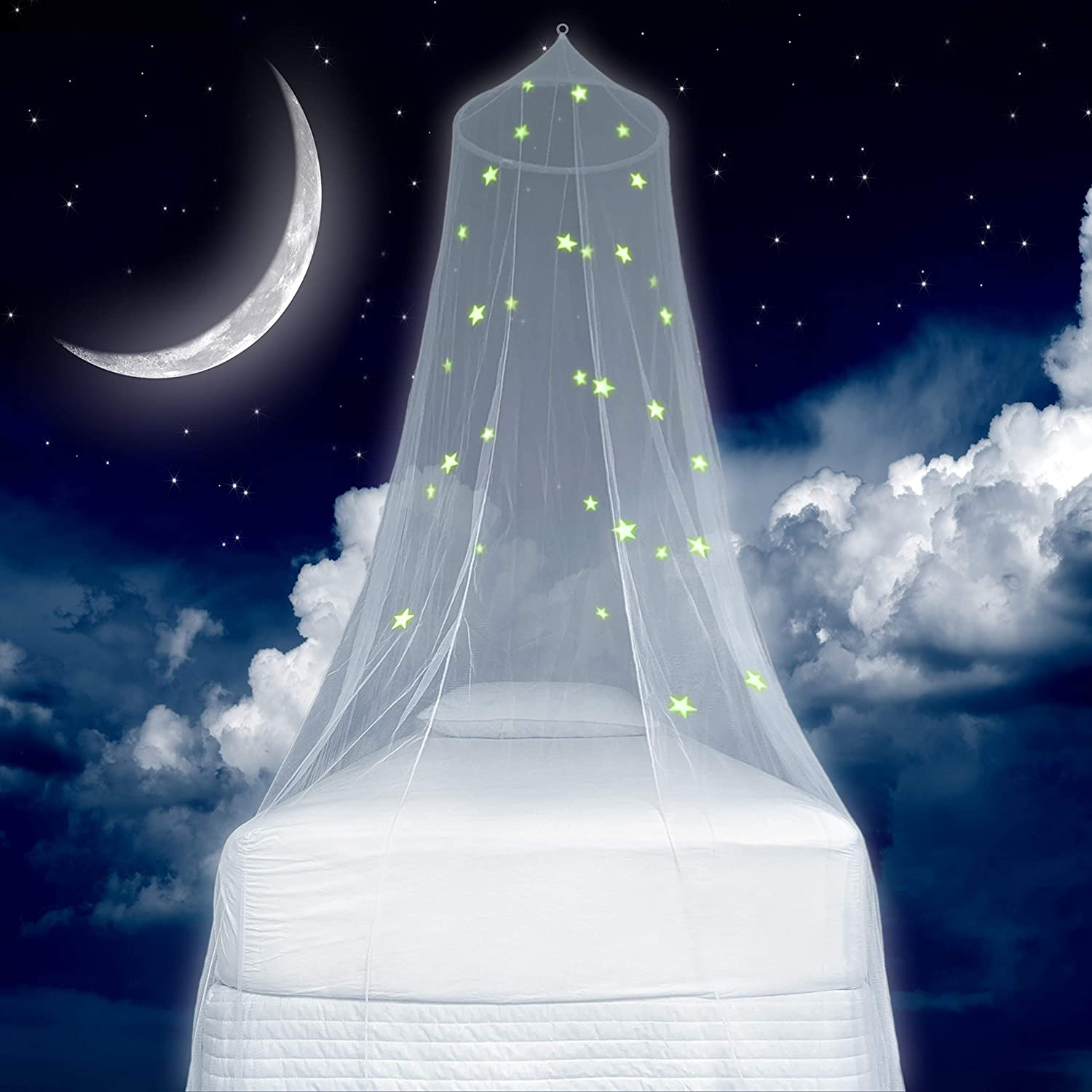 Zeke and Zoey Kids Hanging Bed Canopy for Girls Bed or Boys with Glow in The Dark Stars, The Bed Netting Stars Will Light up Your Child's own Galaxy. Ideal Bedroom Decorative Tent