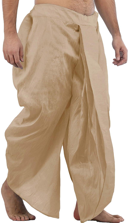 Maenner-Dhoti-Dupion-Silk-Plain-handgefertigt-fuer-Pooja-Casual-Hochzeit-Wear Indexbild 47