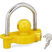 Relaxdays 10026002 Aanhangerslot, diefstalbeveiliging voor gangbare trekhaak, 2 sleutels, massief, aanhangerbeveiliging…