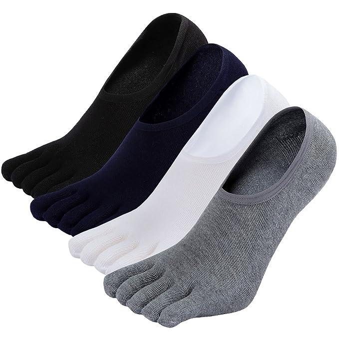 ZAKASA 4 pares de calcetines Toe No Show Running Ciclismo Cinco dedos separados Invisible Crew tobillo