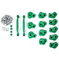 Powerfly Prises d'Escalade Kit pour Enfant - Lot de 12 Prises en 3 Tailles S, M, L et 2 Poignées de Sécurité - Matériel de Montage Inclus - pour Mur d'Escalade Intérieur ou Extérieur - Vert
