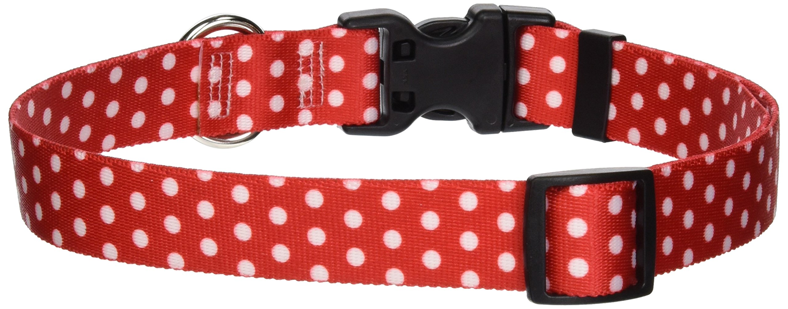 Yellow Dog Design Standard Easy-Snap Collar, New Red Polka Dot, Large 18'' - 28''