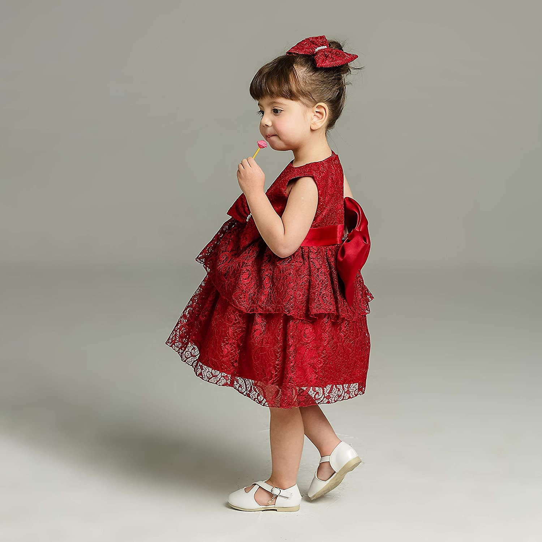 Monimo Neonate Battesimo Bambina Abito di Pizzo Vestito Ragazza di Fiore