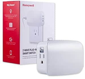Honeywell Z-Wave Plus Smart On/Off Light and Appliance Switch, Dual Outlet Plug-In, 2 Controlled Together | Repeater Range Extender| ZWave Hub Required - SmartThings, Wink, and Alexa Compatible, 39342