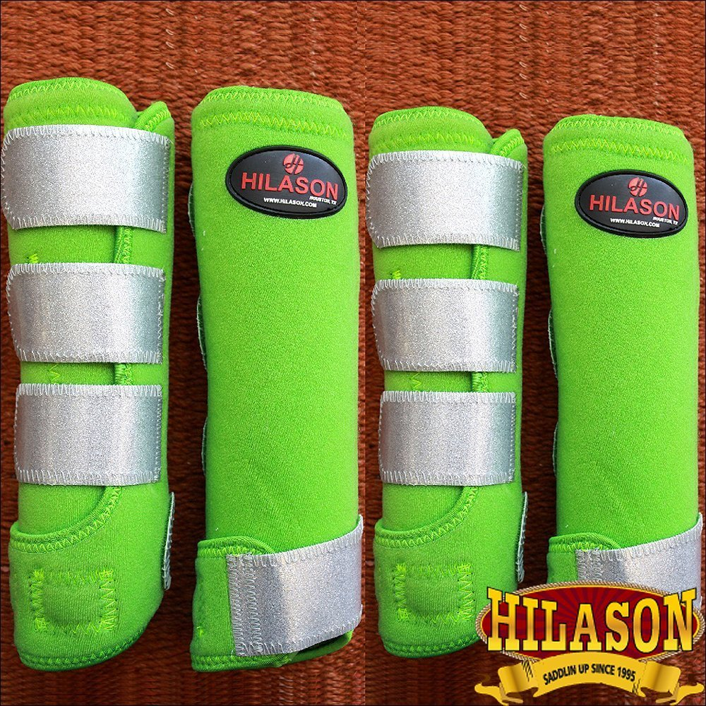 Hilason Large GlitterシルバーHorse前面背面脚保護スポーツブーツ4パック   B01GFFSHGM