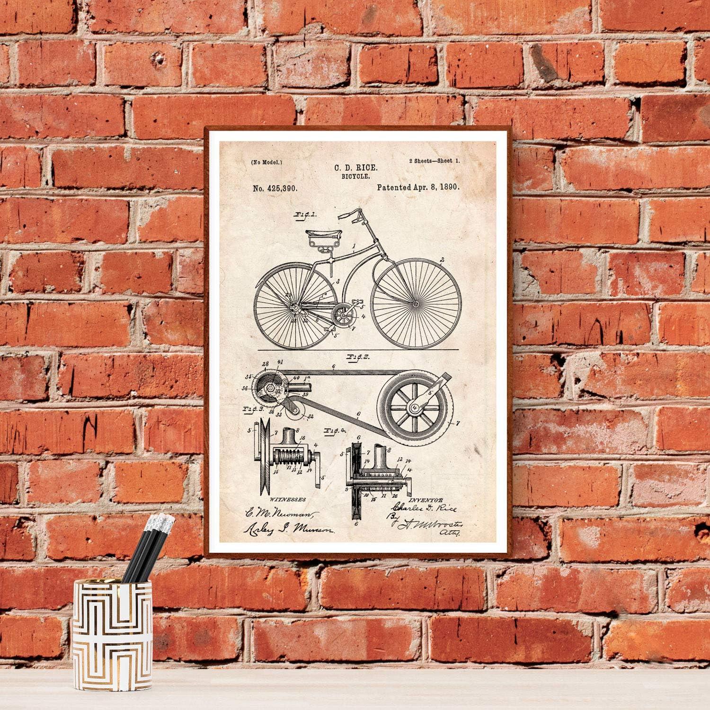 Nacnic Poster de Patente de Bicicleta. Lámina para enmarcar ...
