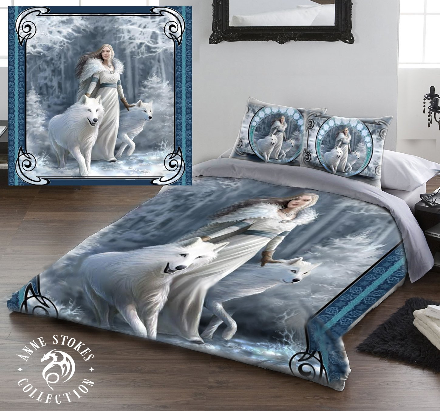 WINTER GUARDIANS Duvet & Pillows Case Covers Set for Queensize Bed Artwork By Anne Stokes by Wild Star Home