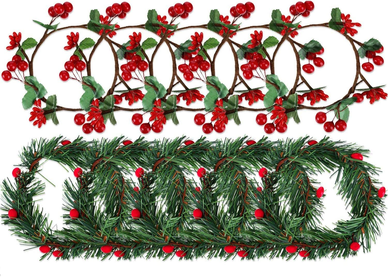 Christmas Candle Ring, Artificial Berry Candle Rings Small Wreath for Pillar Candle Rustic Wedding Centerpiece and Christmas Holiday Table Decoration (3 inch)