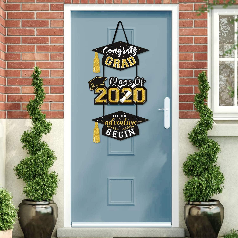 2020 Graduation Party Door Sign Cutouts Congrats Grad Class of 2020 Adventure Begins Wall Porch Hanging Celebration Decorations Supplies