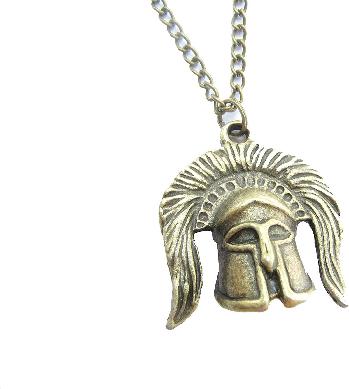 Jewelries Sparta Medieval Knight Helmet Necklace Antique Bronze Charm Bronze,Knight Helmet Necklace,Punk Rock,Unisex Men Necklace,Cosplay