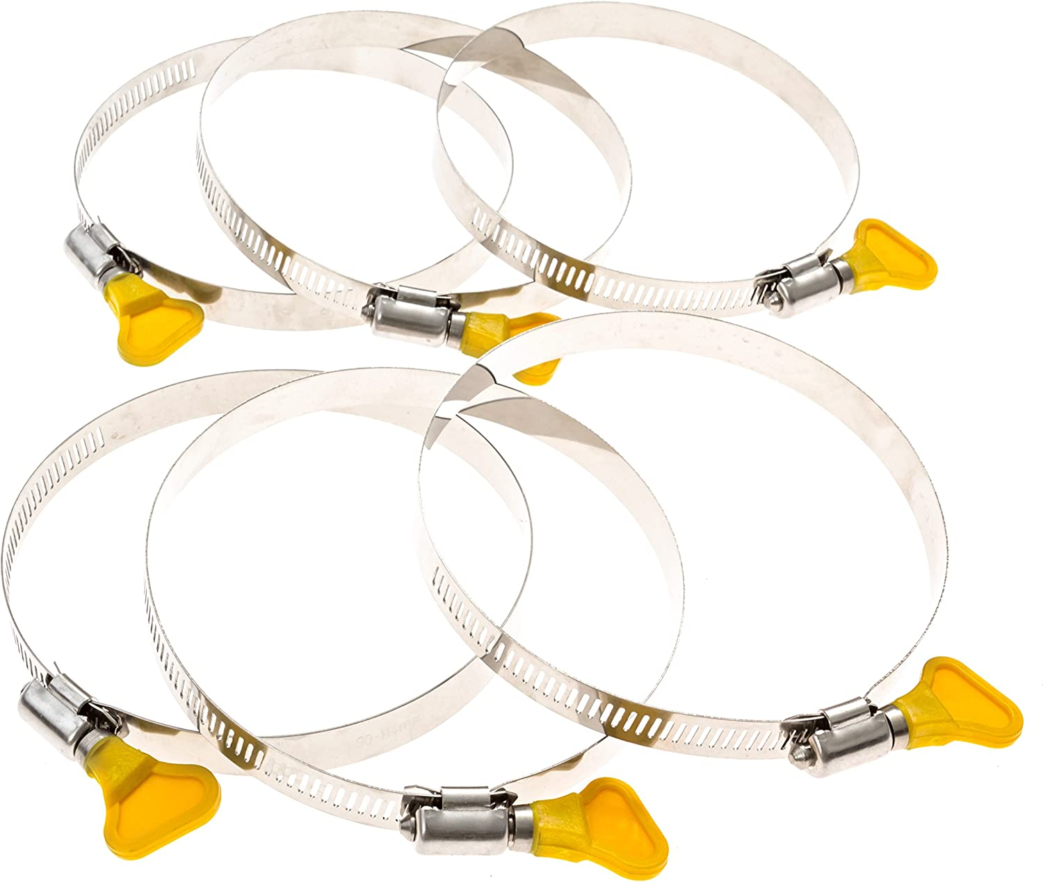 """1st Place Products 1/2 inch Wide 4 inch Key Hose Clamp Set - Pack of 6 - Great for Dryer Vents & Dust Collection Systems - 3 1/2"""" to 4 1/2"""""""
