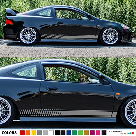 Set of racing side stripes decal sticker graphic compatible with honda integra type r and acura