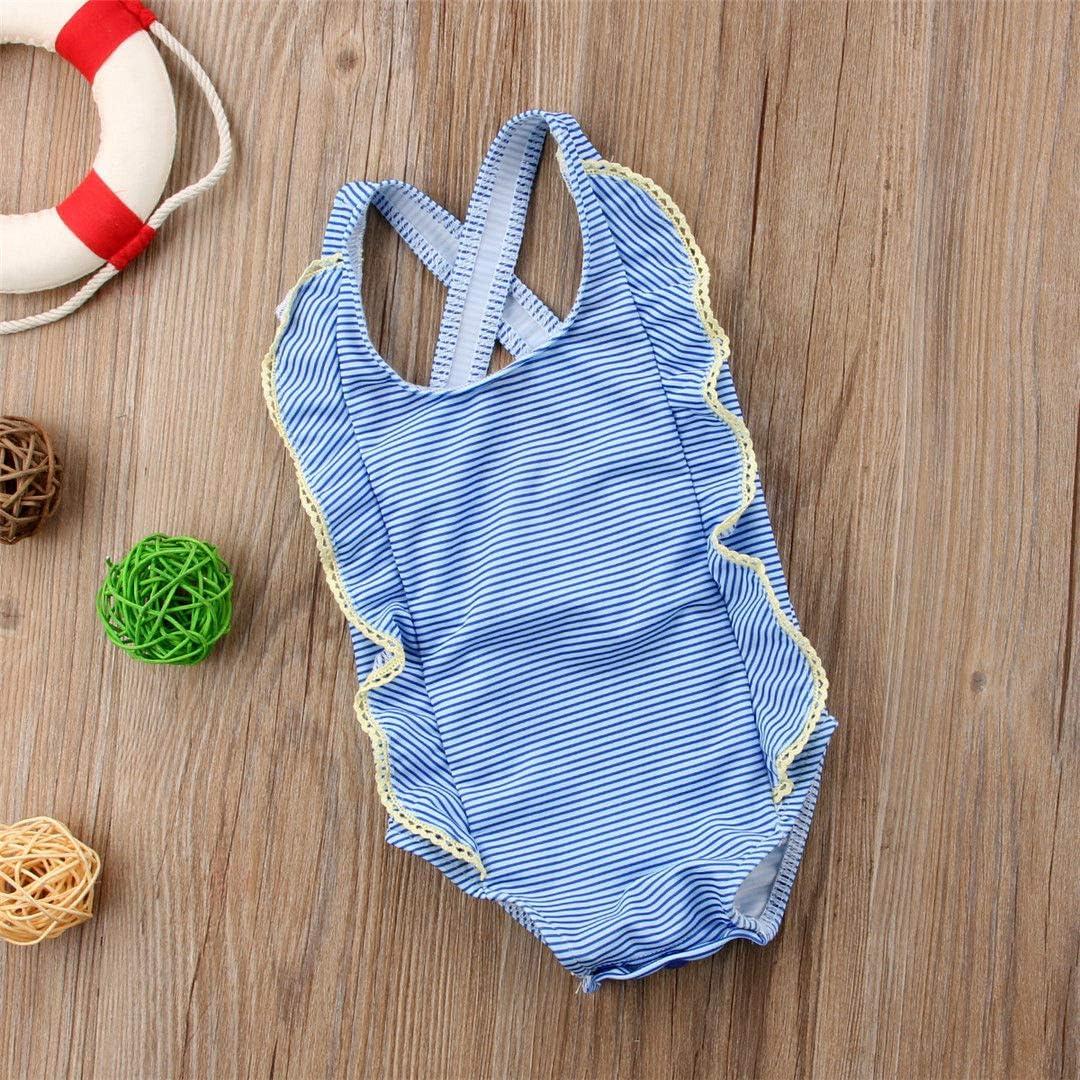 Newborn Baby Girls Stripe Print Ruffled One Piece Swimsuit Bathing Suit Criss Cross Back Swimwear