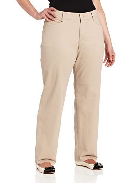 top-rated professional big collection genuine shoes LEE Women's Plus Size Relaxed Fit Plain Front Straight-Leg Pant