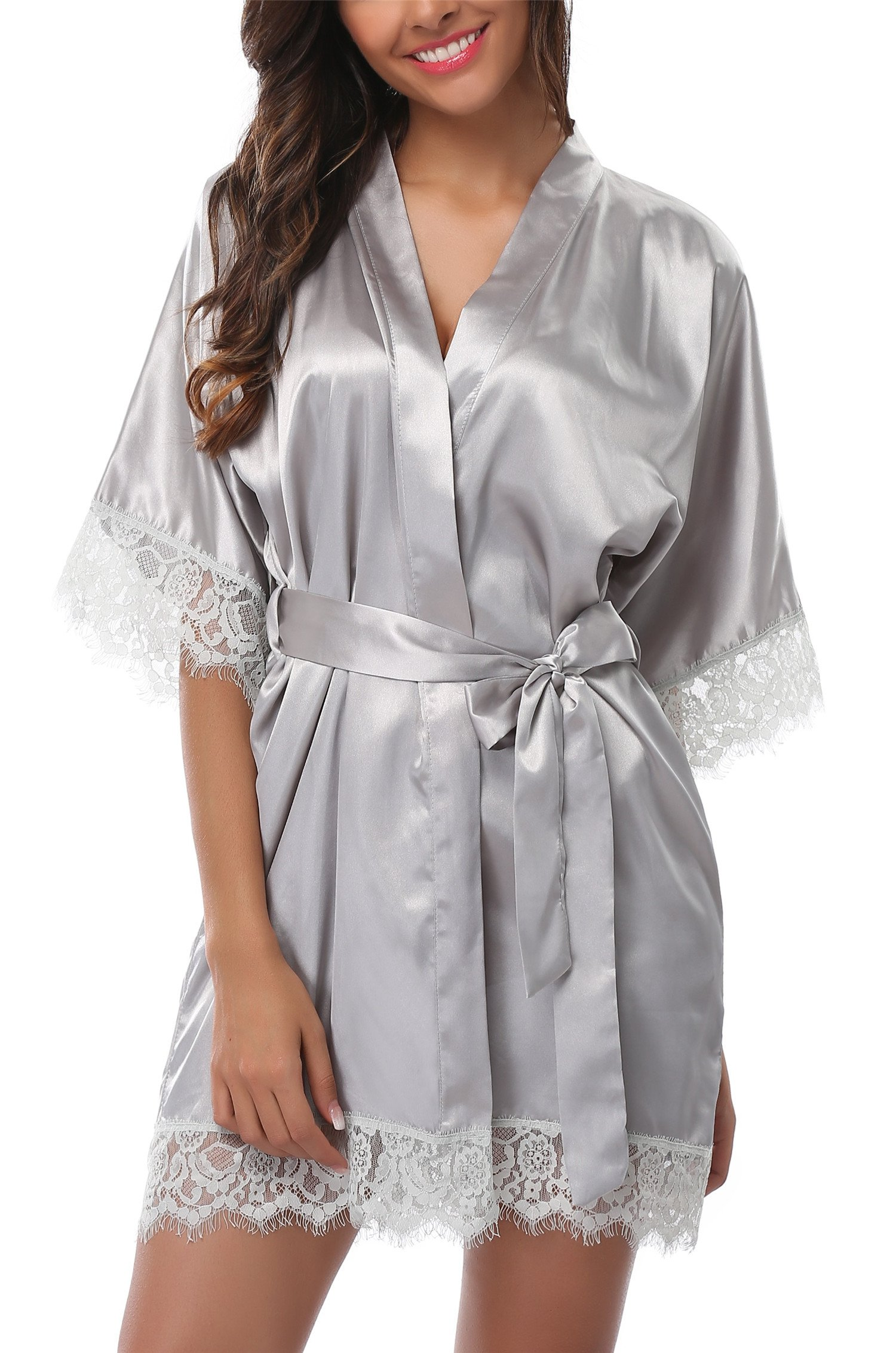 Giova Women's Lace Trim Kimono Robe Nightwear Nightgown Sleepwear Satin Short Robe Light Grey Large