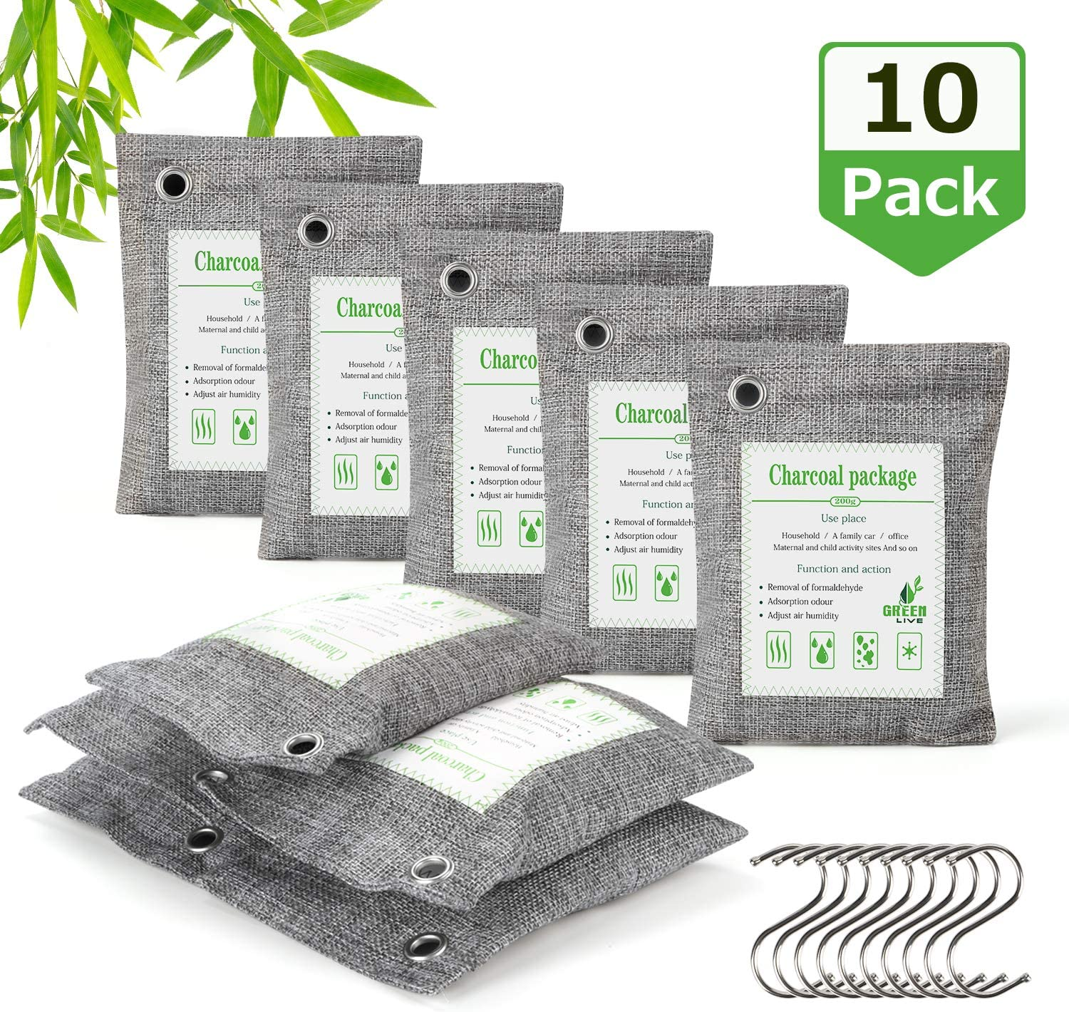 Bamboo Charcoal Air Purifying Bags- AURIDA (10x 200g) Activated Charcoal Bags Odor Absorber Refrigerator Deodorizer Room Freshener Odor Eliminator Bag Remove Odors and Moisture for Pets, Car, Closet